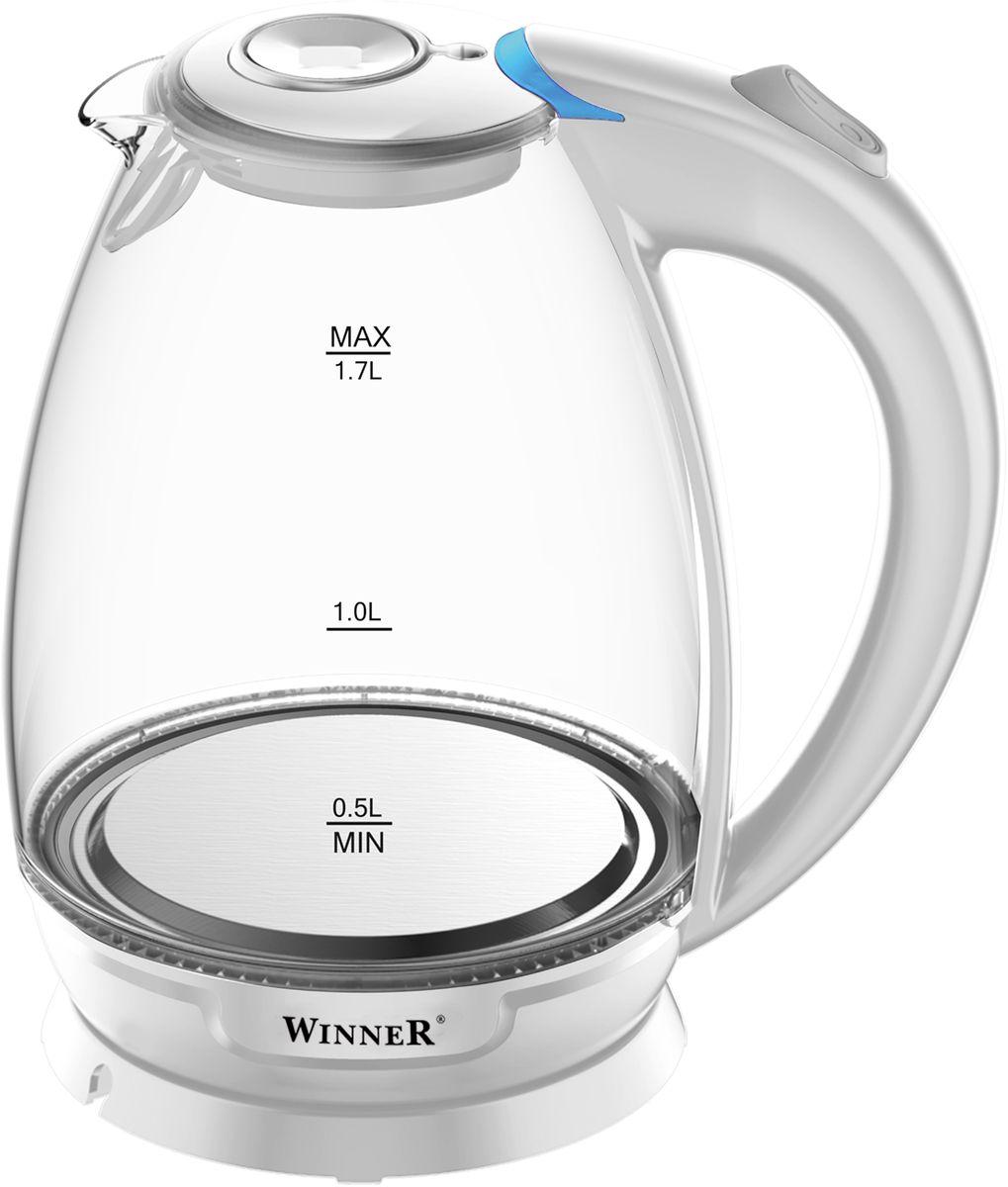 Winner Electronics WR-102 электрический чайникWR-102Электрический чайник Winner Electronics WR-102 выполнен из высококачественных материалов (стекло и пластик). Скрытый нагревательный элемент из нержавеющей стали обеспечивает быстрое закипание и долговечность. Удобный индикатор уровня воды помогает контролировать максимальное заполнение, текущий уровень и минимальный остаток.