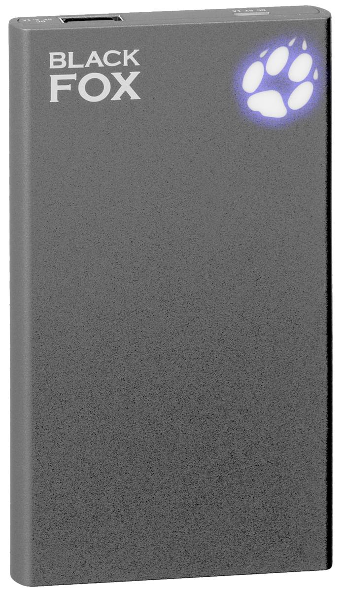 Black Fox BMP050A внешний аккумулятор (5000 мАч)4627102590985Внешний аккумулятор Black Fox BMP 050 А (Цвет - Антрацид ) , Li-Ion, емкость 5000 мАч, световая индикация заряда в виде лапы
