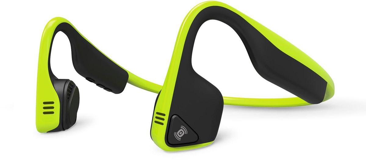 Aftershokz AS600, Green беспроводные наушникиAS600IGTrekz Titanium - самые безопасные и комфортные наушники со звуком премиум качества.Разработчики Trekz Titanium улучшили концепт беспроводных наушников с костной проводимостью звука, соединив его со своими фирменными аудио технологиями, в результате чего на свет появились новые, ультра-современные беспроводные наушники для спорта Trekz Titanium. Платформа: Android, IOS, Windows, прочие с поддержкой BluetoothТип наушников: беспроводныеТип крепления: затылочная дужкаТехнология передачи звука: на основе костной проводимостиРежим звука: стереоДиапазон: 20 Гц – 20 кГцМаксимальное звуковое давление: 100 +/- 3 дБВстроенный микрофон: естьЧувствительность микрофона: 40 дБ +/- 3 дБТип подключения: Bluetooth v. 4.0 (обратно совместим с Bluetooth 3.0)Рабочая температура: от 0 до 45 ? Защита: IP55Поддерживаемые профили: Advanced Audio Distribution Profile (A2DP)Audio/Video Remote Control Profile (AVRCP)Headset Profile (HSP)Hands-Free Profile (HFP)Радиус действия: до 10 мАккумулятор: литий-ионныйВремя работы: до 6 ч воспроизведения музыки Время зарядки: до 1,5 ч Цвет: серый, зеленый, голубой, розовыйВес: 36гГарантия: 2 года
