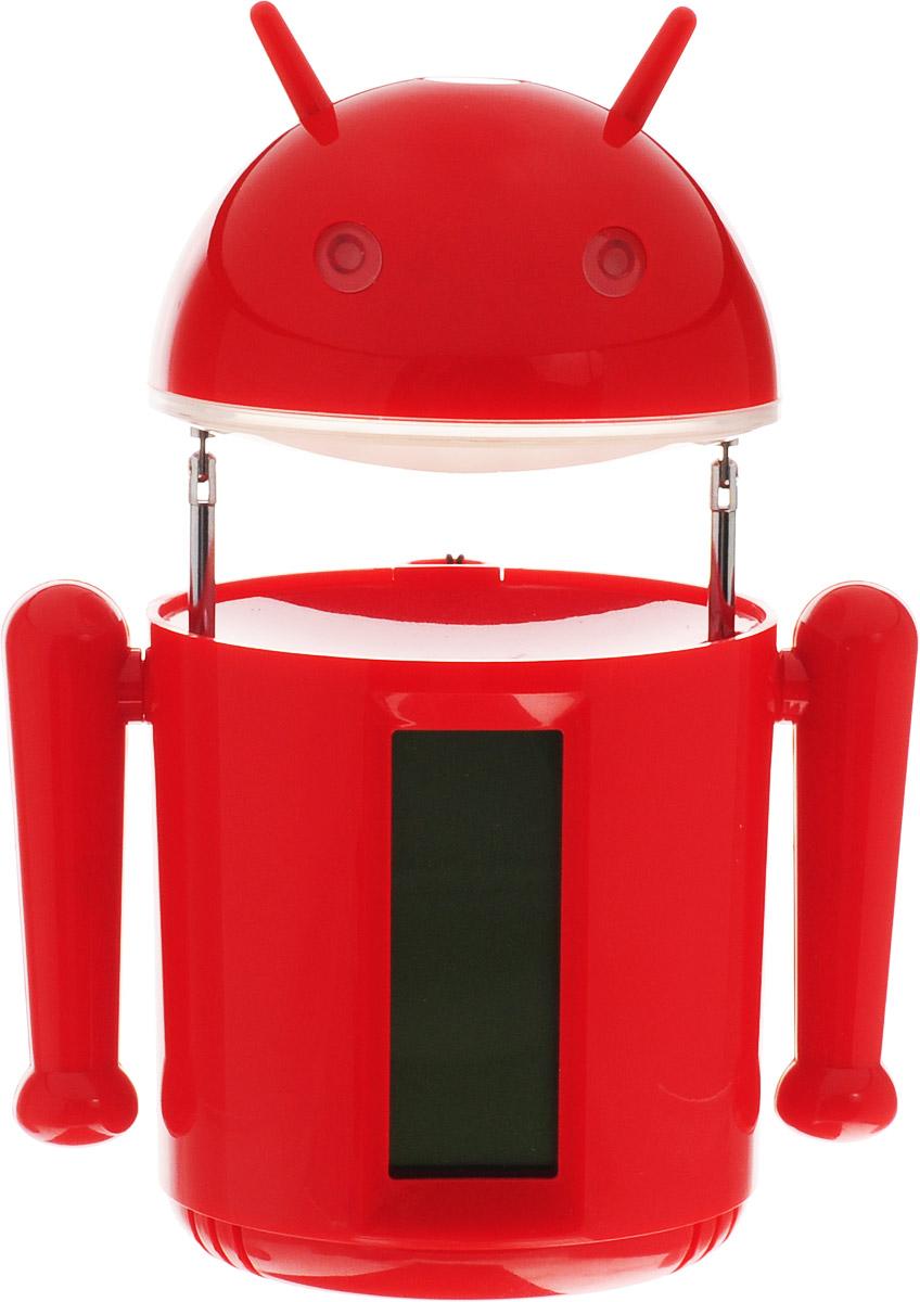Sima-land Лампа настольная сенсорная Робот цвет красный1193589_красныйСегодня особо ценятся уникальные креативные предметы интерьера, и настольная сенсорная лампа Sima-land Робот как раз из их числа. Лампа выполнена из качественного пластика в виде забавного зеленого робота с рожками. Голова робота поднимается над корпусом с помощью телескопических держателей и может поворачиваться под любым углом. На нижней поверхности головы робота расположены 20 ярких светодиодов, которые включаются с помощью кнопки на его макушке.Если провести пальцем или рукой между глаз робота, то они будут светиться. Руки робота подвижны. На лицевой стороне корпуса расположен жидкокристаллический дисплей, отображающий информацию о времени суток, дате и температуре окружающего воздуха. На нижней поверхности корпуса есть кнопочная панель для настройки часов, будильника, календаря и переключения отображения температуры в градусах Цельсия или Фаренгейта.Оригинальную лампу можно установить на стол или любую ровную поверхность, можно подвесить с помощью ремешка (в комплекте) или прикрепить к металлической поверхности за счет встроенного в основание корпуса магнита. Эта удивительная лампа станет украшением вашего интерьера и поднимет настроение.Лампа работает от встроенного аккумулятора на 1200 mAh.За счет его значительной емкости лампу также можно использовать для подзарядки смартфона или другого устройства через USB (кабель зарядки в комплекте). Аккумулятор заряжается от порта USB с помощью прилагаемого кабеля.