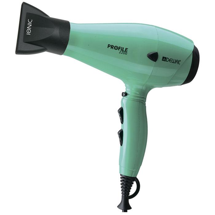 Dewal Profile 2200 фен03-120 AquaПрофессиональный фен DEWAL Profile-2200 03-120 Aqua – обладает маневренностью и большой мощностью и поэтому идеально подходит для работы в салоне. Благодаря универсальному размеру фен подходит как для женской, так и для мужской руки. Ручка фена немного отклонена назад, что улучшает эргономику при работе. Сопла скошенной формы существенно увеличивают скорость воздушного потока, а также помогают сделать процесс укладки брашингом более комфортным. Воздушный фильтр легко снимается и ухаживать за мотором фена не составит труда. Яркий цвет аквамарин подарит Вам невозможно хорошее настроение.Преимущества фенов DEWAL: Мощный мотор – до 8 часов непрерывной работы; Высокая скорость воздушного потока. Корпус фена разработан с учетом оптимизации расхода воздуха; Защита от перегрева Stop-heat. Защитный механизм на нагревательном элементе фена охлаждает корпус, сохраняет мотор, защищая его от перегрева а также поддерживает оптимальную температуру для волос; Яркие цвета фенов DEWAL поражают своим многообразием. В течение всего срока службы фена цвета не тускнеют и не стираются. ТЕХНИЧЕСКИЕ ХАРАКТЕРИСТИКИ: мощность 2200 Вт; система ионизации; вес 570 г; 6 режимов работы; кнопка холодного воздуха; 2 сопла; сетевой провод 3 м.