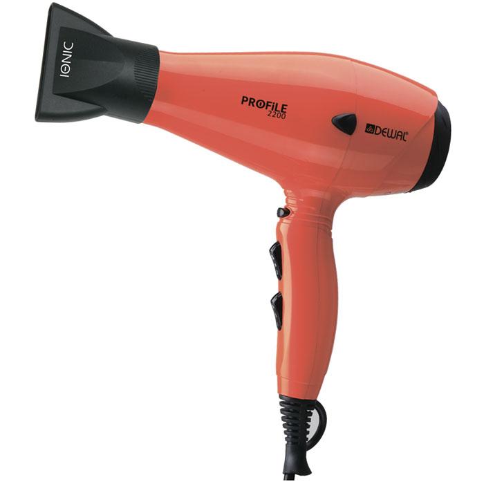 Dewal Profile 2200 фен03-120 OrangeПрофессиональный фен DEWAL Profile-2200 03-120 Orange – обладает маневренностью и большой мощностью и поэтому идеально подходит для работы в салоне. Благодаря универсальному размеру фен подходит как для женской, так и для мужской руки. Ручка фена немного отклонена назад, что улучшает эргономику при работе. Сопла скошенной формы существенно увеличивают скорость воздушного потока, а также помогают сделать процесс укладки брашингом более комфортным. Воздушный фильтр легко снимается и ухаживать за мотором фена не составит труда. Яркий оранжевый цвет подарит Вам невозможно хорошее настроение.Преимущества фенов DEWAL: Мощный мотор – до 8 часов непрерывной работы; Высокая скорость воздушного потока. Корпус фена разработан с учетом оптимизации расхода воздуха; Защита от перегрева Stop-heat. Защитный механизм на нагревательном элементе фена охлаждает корпус, сохраняет мотор, защищая его от перегрева а также поддерживает оптимальную температуру для волос; Яркие цвета фенов DEWAL поражают своим многообразием. В течение всего срока службы фена цвета не тускнеют и не стираются.ТЕХНИЧЕСКИЕ ХАРАКТЕРИСТИКИ: мощность 2200 Вт; система ионизации; вес 570 г; 6 режимов работы; кнопка холодного воздуха; 2 сопла; сетевой провод 3 м.