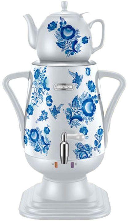 Добрыня DO-417 электрический самоварDO-417Самовар DO-417 станет прекрасной альтернативой обычному чайнику. Украшенный росписью в исконно-русском стиле, он сделает ваш интерьер оригинальным и подчеркнет принадлежность к русской культуре. Кроме того, данная техника обладает рядом технических преимуществ: двойные стенки, наличие заварочного чайника, несколько температурных режимов, встроенный термостат – все это значительно упрощает процесс использования самовара. Вода в самоваре нагревается максимально быстро, и ее температура удерживается длительно время. Самовар Добрыня станет прекрасным и оригинальным подарком к любому празднику!Технические характеристики: - керамический заварочный чайник 1 л. со сменным моющимся фильтром из нержавеющей стали в комплекте- хромированный кран- функция термопота- мощность в режиме подогрева 100 Вт- напряжение сети 220 В- дисковой нагреватель, световая индикация работы, автоматическое отключение, защита от перегрева при выкипании воды.