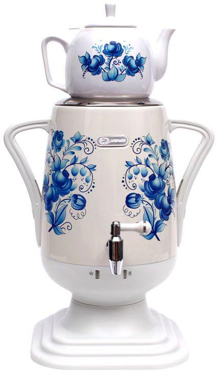 Добрыня DO-420 электрический самоварDO-420Самовар DO-420 станет прекрасной альтернативой обычному чайнику. Украшенный росписью в исконно-русском стиле, он сделает ваш интерьер оригинальным и эстетически привлекательным. Кроме того, данная техника обладает рядом технических преимуществ: двойные стенки, наличие заварочного чайника, несколько температурных режимов, встроенный термостат – все это значительно упрощает процесс использования самовара. Вода в самоваре нагревается максимально быстро, и ее температура удерживается длительно время. Самовар Добрыня станет прекрасным и оригинальным подарком к любому празднику! Технические характеристики: -к ерамический заварочный чайник 1 л. со сменным моющимся фильтром из нержавеющей стали в комплекте- хромированный кран- функция термопота- мощность в режиме подогрева 100 Вт- напряжение сети 220 В- дисковой нагреватель, световая индикация работы, автоматическое отключение, защита от перегрева при выкипании воды.