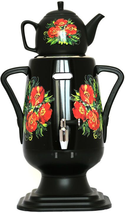 Добрыня DO-424 электрический самоварDO-424Самовар DO-424 станет прекрасной альтернативой обычному чайнику. Украшенный росписью в исконно-русском стиле, он сделает ваш интерьер оригинальным и подчеркнет принадлежность к русской культуре. Кроме того, данная техника обладает рядом технических преимуществ: двойные стенки, наличие заварочного чайника, несколько температурных режимов, встроенный термостат – все это значительно упрощает процесс использования самовара. Вода в самоваре нагревается максимально быстро, и ее температура удерживается длительно время. Самовар Добрыня станет прекрасным и оригинальным подарком к любому празднику!Технические характеристики:- материал: нержавеющая сталь- керамический заварочный чайник 1 л. со сменным моющимся фильтром из нержавеющей стали в комплекте- хромированный кран- функция термопота- мощность в режиме подогрева 100 Вт- напряжение сети 220 В- дисковой нагреватель, световая индикация работы, автоматическое отключение, защита от перегрева при выкипании воды.