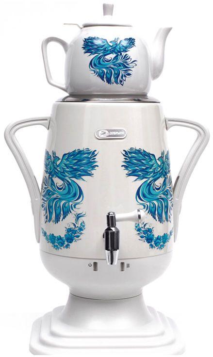 Добрыня DO-425 электрический самоварDO-425Самовар DO-425 станет прекрасной альтернативой обычному чайнику. Украшенный росписью в исконно-русском стиле, он сделает ваш интерьер оригинальным и подчеркнет принадлежность к русской культуре. Кроме того, данная техника обладает рядом технических преимуществ: двойные стенки, наличие заварочного чайника, несколько температурных режимов, встроенный термостат – все это значительно упрощает процесс использования самовара. Вода в самоваре нагревается максимально быстро, и ее температура удерживается длительно время. Самовар Добрыня станет прекрасным и оригинальным подарком к любому празднику!Технические характеристики:- материал: нержавеющая сталь- керамический заварочный чайник 1 л. со сменным моющимся фильтром из нержавеющей стали в комплекте- хромированный кран- функция термопота- мощность в режиме подогрева 100 Вт- напряжение сети 220 В- дисковой нагреватель, световая индикация работы, автоматическое отключение, защита от перегрева при выкипании воды.