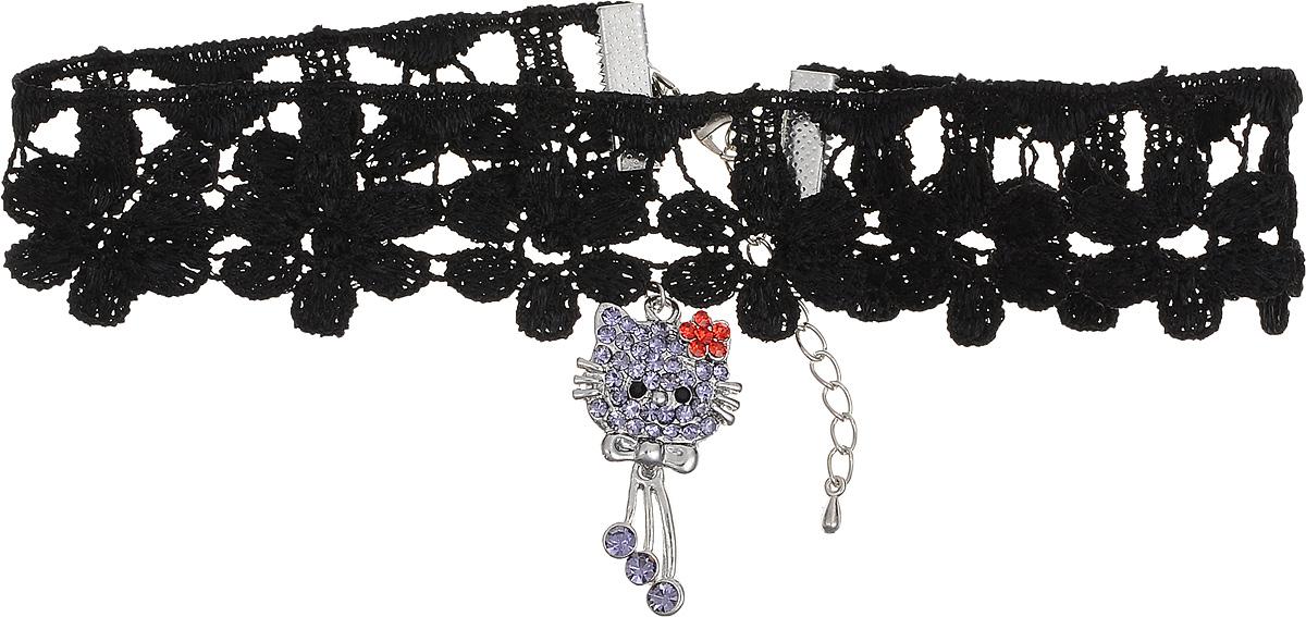 Чокер Револю Мулен Руж, цвет: черный. П8256Бусы-ошейникЧокер Револю Мулен Руж выполнен из кружевного текстиля с удлиняющей цепочкой с замочком-карабином.Чокер оформлен подвеской из металла с вкраплениями из хрустальных страз,выполненной в форме кошечки.