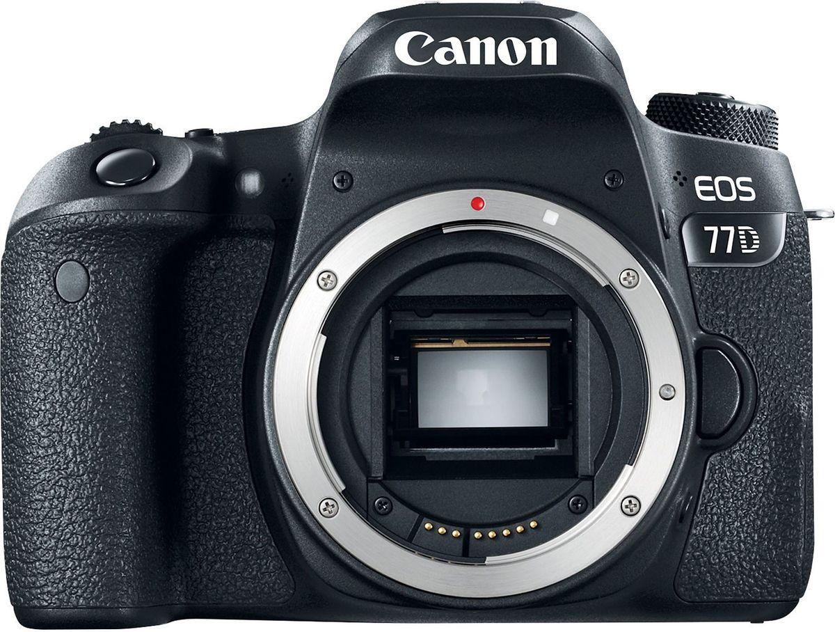 Canon EOS 77D Body цифровая зеркальная фотокамера1892C003Canon EOS 77D откроет вам новые творческие возможности в создании фотографий.Откройте для себя новые объекты и способы съемки. Современная система автофокусировки настраивает резкость именно там, где это необходимо, как при использовании оптического видоискателя, так и при использовании сенсорного экрана с высоким разрешением. Серийная съемка со скоростью до 6 кадров/сек. позволяет запечатлеть даже мимолетное выражение лица.Датчик изображения APS-C нового поколения позволяет создавать изображения с высокой детализацией даже в ярко освещенных и затененных местах. Самая быстрая в мире система автофокусировки в режиме Live View обеспечивает резкость изображений даже при съемке быстро движущихся объектов.Снимайте видео Full HD с кинематографическими эффектами малой глубины резкости и динамической передачей движения с частотой до 60 кадров/сек. Автофокусировка Dual Pixel CMOS AF сохраняет четкость объектов при изменении вашего положения, а встроенная система стабилизации изображения по 5 осям позволяет создавать плавное видео.Функции камеры EOS 77D, такие как колесо управления и сенсорный ЖК-экран с регулируемым углом наклона, дают вам больше возможностей управления и свободу творчества. На верхнем ЖК-экране отображается информация о настройках камеры.Сочетание беспроводных технологий Wi-Fi, Bluetooth и NFC значительно упрощает подключение к совместимым мобильным устройствам iOS и Android. Управляйте камерой дистанционно, в том числе в режиме Live View со смартфона или планшета, и делитесь изображениями с друзьями при помощи облачных сервисов.Общее количество пикселей: 25,8 Мпикс