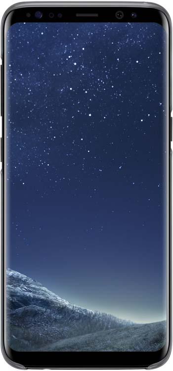 Samsung Clear Cover чехол для Galaxy S8, BlackEF-QG950CBEGRUОригинальный чехол обеспечит надежную защиту задней крышке иторцам устройства. Несильно увеличивает размеры смартфона. Оснащен необходимыми отверстиями под порты икамеру.