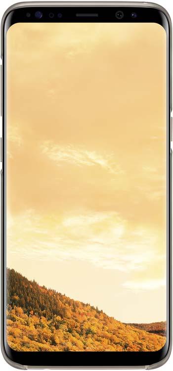 Samsung Clear Cover чехол для Galaxy S8, GoldEF-QG950CFEGRUОригинальный чехол обеспечит надежную защиту задней крышке иторцам устройства. Несильно увеличивает размеры смартфона. Оснащен необходимыми отверстиями под порты икамеру.