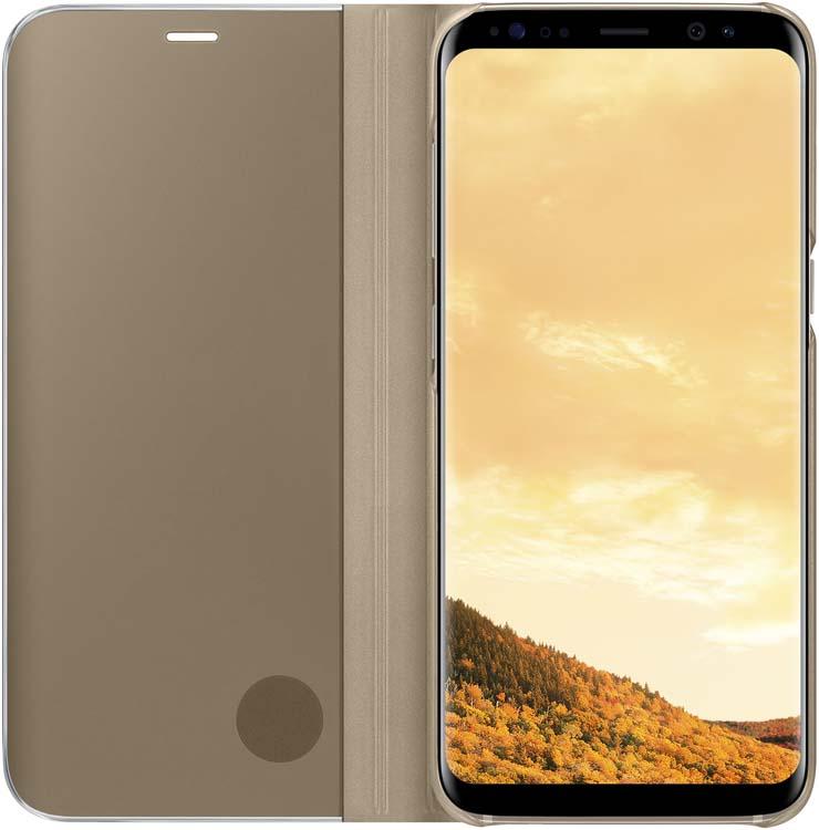 Samsung Clear View Standing чехол для Galaxy S8, GoldEF-ZG950CFEGRUТонкий полупрозрачный чехол подчеркивает стиль и изящество смартфона Samsung Galaxy S8. Аксессуар обеспечивает быстрый доступ к функциям – следите за информацией на экране, не открывая чехла. Сквозь прозрачную верхнюю крышку видны время, пропущенные вызовы, индикатор заряда. Флип-кейс отзывчиво реагирует на прикосновения – отвечайте на звонки одним легким движением. Чехол устойчив к появлению отпечатков пальцев – ваш смартфон всегда в аккуратном состоянии. Особое покрытие чехла защищает смартфон от повреждений, продлевая срок его службы.