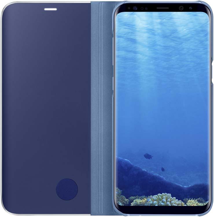 Samsung Clear View Standing чехол для Galaxy S8+, BlueEF-ZG955CLEGRUТонкий полупрозрачный чехол подчеркивает стиль иизящество смартфона. Аксессуар обеспечивает быстрый доступ кфункциям— следите заинформацией наэкране, неоткрывая чехла. Сквозь прозрачную верхнюю крышку видны время, пропущенные вызовы, индикатор заряда. Флип-кейс отзывчиво реагирует наприкосновения— отвечайте назвонки одним легким движением. Чехол устойчив кпоявлению отпечатков пальцев— ваш смартфон всегда ваккуратном состоянии. Особое покрытие чехла защищает смартфон отповреждений, продлевая срок его службы.