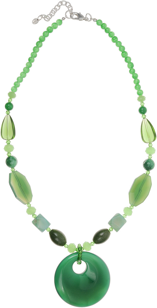 Колье Taya, цвет: зеленый. T-B-12715Колье (короткие одноярусные бусы)Колье Taya выполнено из бижутерного сплава. Изделие оформлено бусинами из комбинированного стекла и крупным декоративным элементом из кварца. Колье застегивается с помощью замка-карабина, а длина изменяется с помощью звеньев.