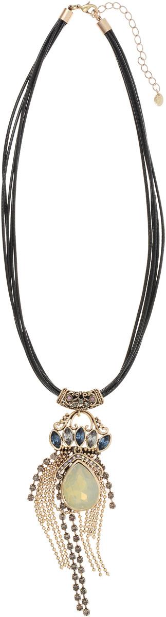 Колье Taya, цвет: черный, золотистый. T-B-12130Колье (короткие одноярусные бусы)Кулон-подвеска выполнена на кожаных шнурках дополнена удлиняющей цепочкой с замочком-карабином. Бледная матовая капля расположена поверх золотых цепей и полосок страз. Нежное шейное украшение-галстук.