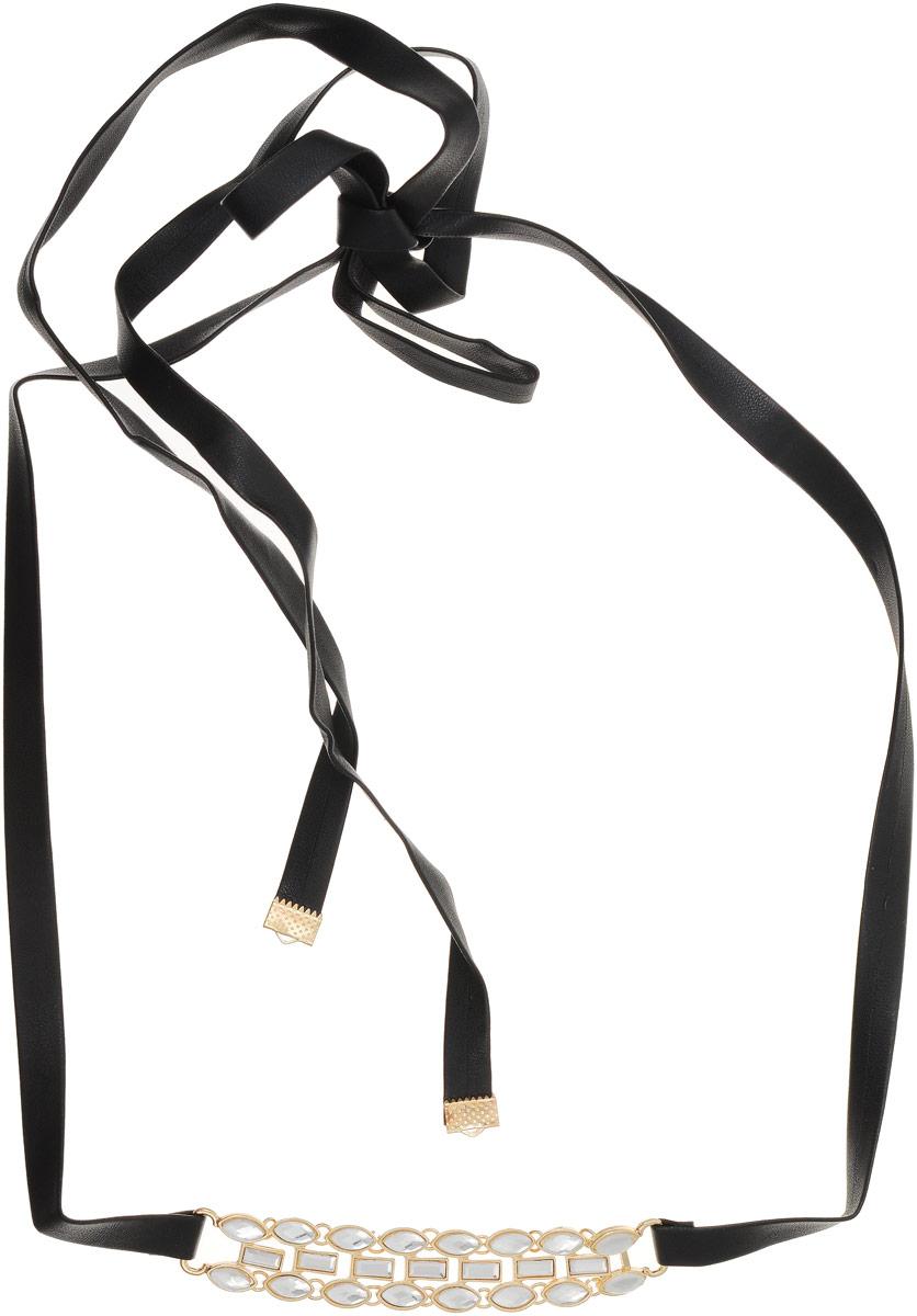 Колье Taya, цвет: черный, прозрачный. T-B-12642Колье (короткие одноярусные бусы)Применительно к украшению чокером называют ожерелье, плотно обтягивающее шею. Так как длина кожаного ремня достаточно большая, данное украшение можно завязывать сзади бантом, а можно сделать несколько оборотов на шею.