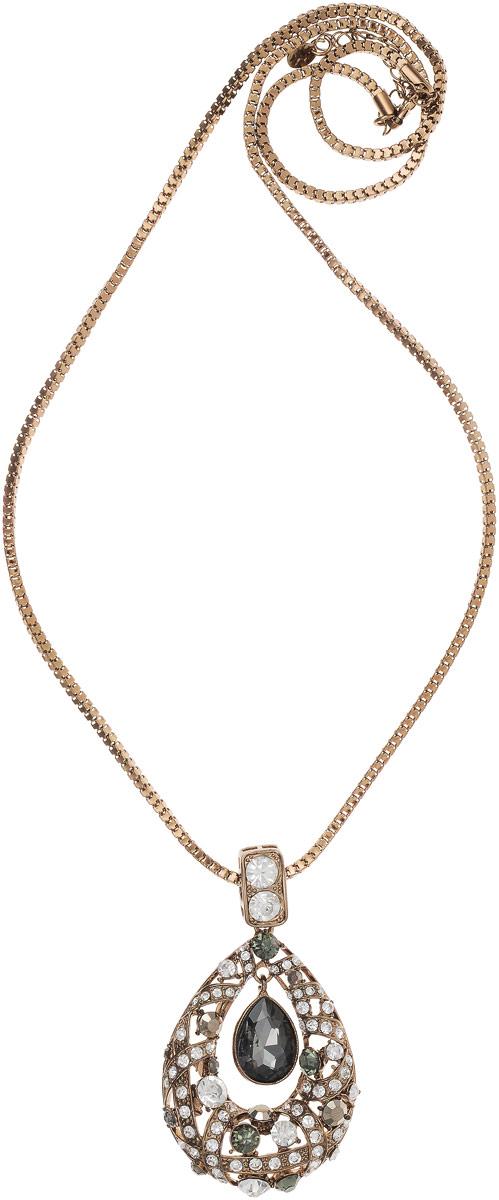 Колье Taya, цвет: коричневый. T-B-10942Колье (короткие одноярусные бусы)Брошь-кулон выполнен на длинной круглой цепи и дополнен удлиняющей цепочкой с замочком-карабином. Кулон на цепочке с удлинением, выполнен в овальной форме в виде огромной капли, внутри которой свободно поблескивает крупный дымчатый кристалл.