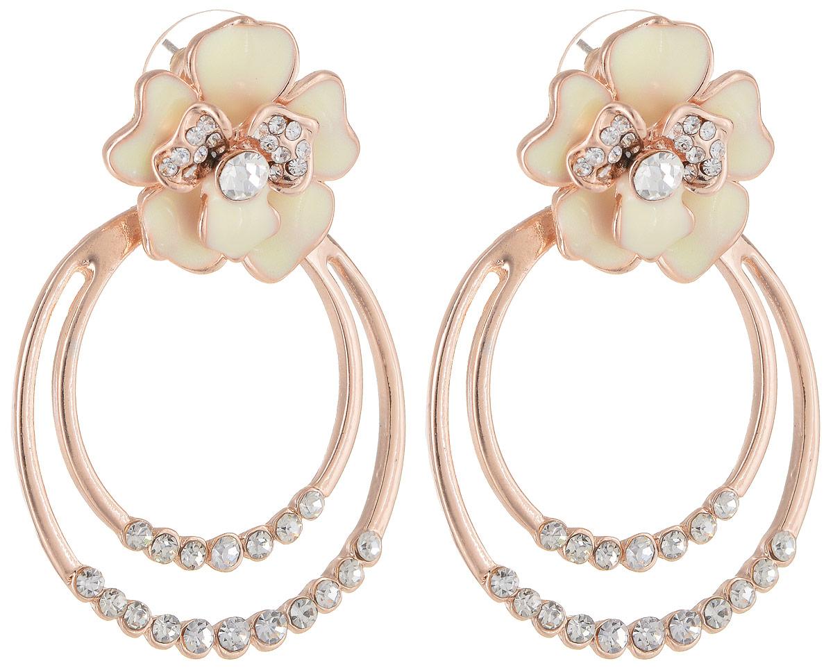 Серьги Taya, цвет: золотистый, белый. T-B-12889Пуссеты (гвоздики)Серьги-гвоздики с заглушкой из металла-пластика выполнены в виде двухъярусной розы с лепестками, покрытыми молочной блестящей эмалью. К цветку крепятся два золотых овала. Нарядные и одновременно веселые серьги.