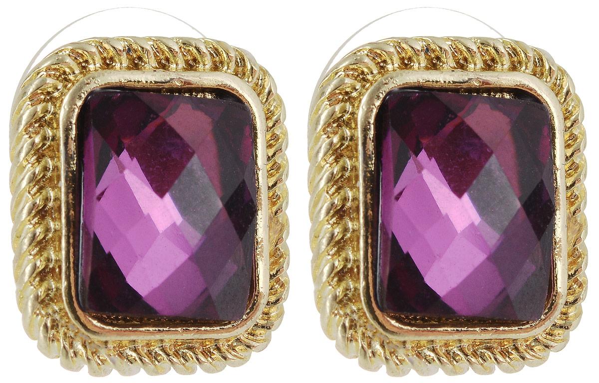 Серьги Taya, цвет: золотистый, аметист. T-B-5459Серьги с подвескамиСерьги-гвоздики Taya застегиваются на заглушку из металла-пластика. В золотой рамке расположен чудесный фиолетовый кристалл мозаичной огранки. Серьги удобные, цвет нежный и интеллигентный.
