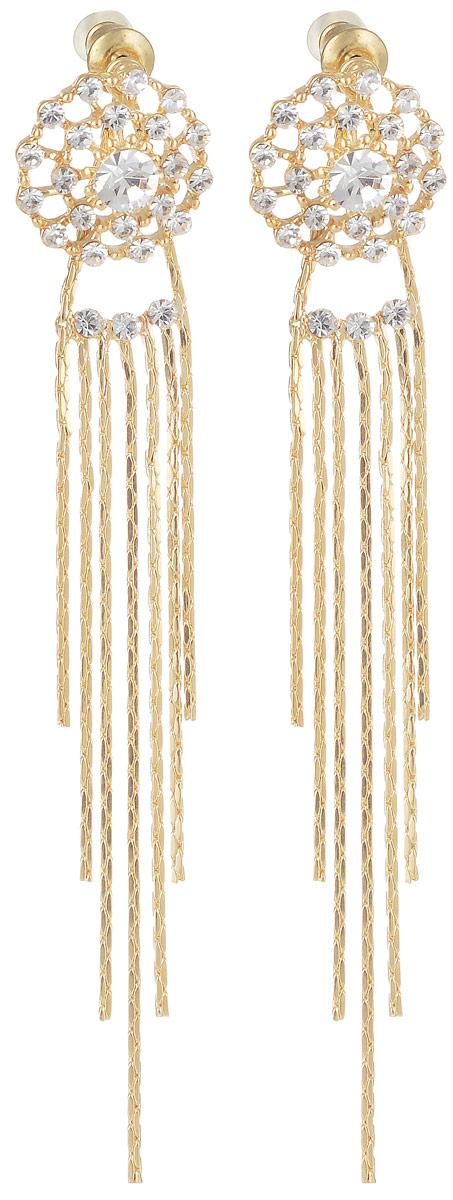 Серьги Taya, цвет: золотистый. T-B-7135Серьги с подвескамиРоскошные серьги-гвоздики имеют прозрачные мягкие заглушки. Серьги с прозрачными цирконами выполнены в форме паутинки и дополнены длинными подвесками-цепочками. Такая модель выигрышно подчеркивает силуэт шеи. Серьги нежные и летящие, придутся по вкусу моднице любого возраста. Все камни вставлены вручную.