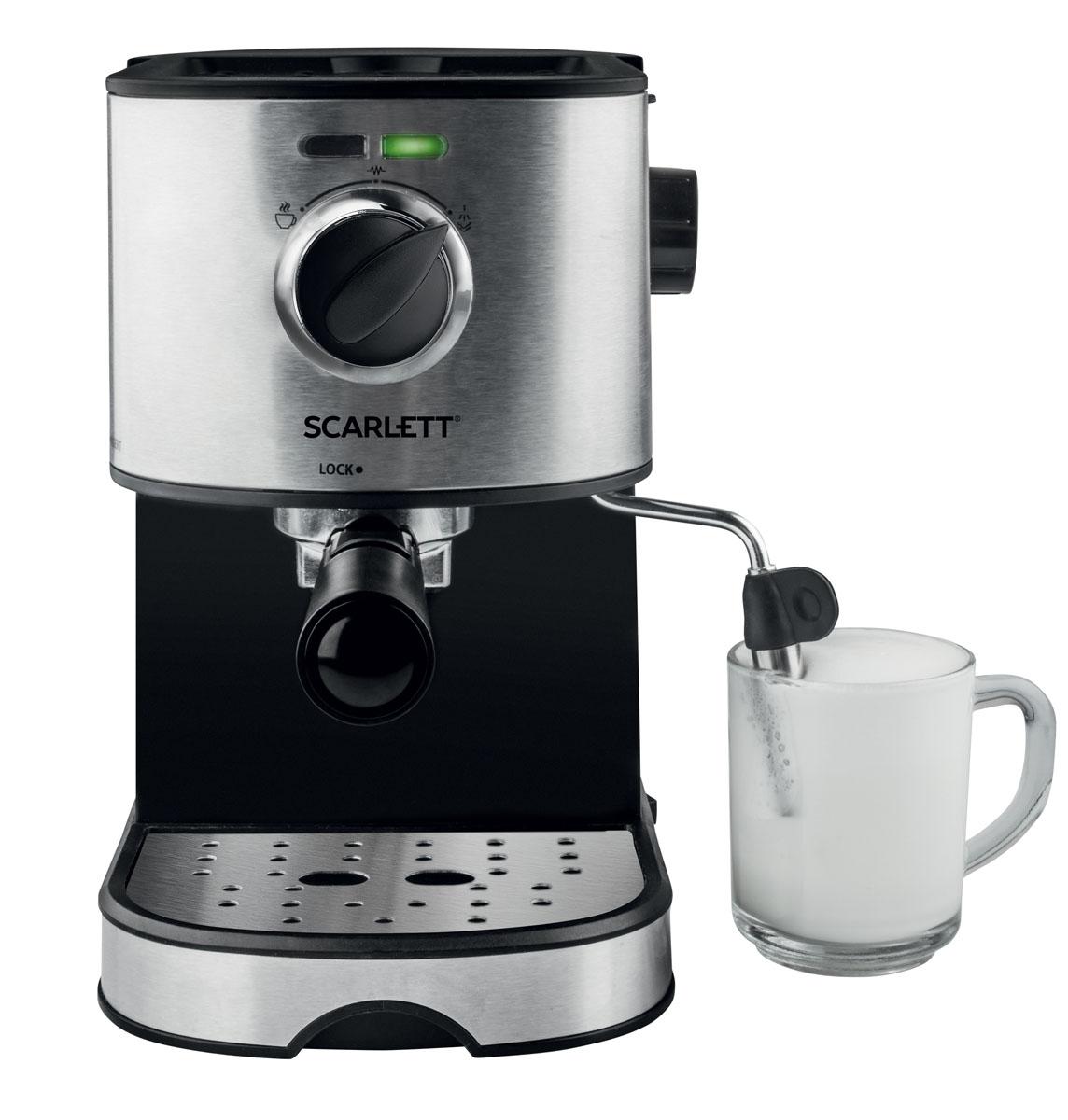 Scarlett SL-CM53001, Black кофеваркаSL-CM53001Scarlett SL-CM53001 - современная кофеварка рожкового типа, способная приготовить эспрессо, капучино или латте из молотого кофе. Она стильно выглядит, проста в использовании, не занимает много места, оснащена резиновыми ножками, повышающими её устойчивость.Максимальное давление составляет 15 бар. Этого достаточно, чтобы кофе, приготовленный при помощи кофеварки, приобрёл богатый, насыщенный вкус и аромат.К кофеварке прилагается удобная мерная ложечка, с помощью которой владелец сможет точно отмерить необходимое количество молотого кофе.Удобное управление и световая индикация работыСъемный стальной капучинатор для взбивания и нагрева молокаСтальной фильтр для молотого кофе, или кофе в чалдахДержатель фильтра с 2 рожками, для одновременного приготовления 2 чашек кофеСъемный лоток для капельИтальянская помпа создает необходимое давление для насыщенного эспрессо с плотной пенкой