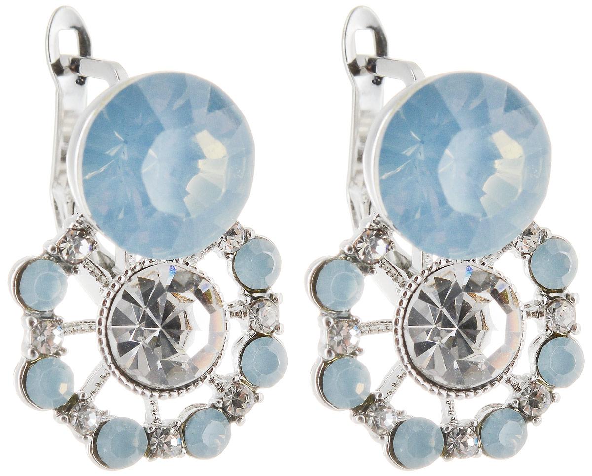 Серьги Taya, цвет: серебряный, голубой. T-B-12885Пуссеты (гвоздики)Серьги-гвоздики с заглушкой металл-пластик. Украшение смотрится дорого за счет изящных форм и сочетания блеска. Вкрапления из страз и кристаллов переливаются на свету.