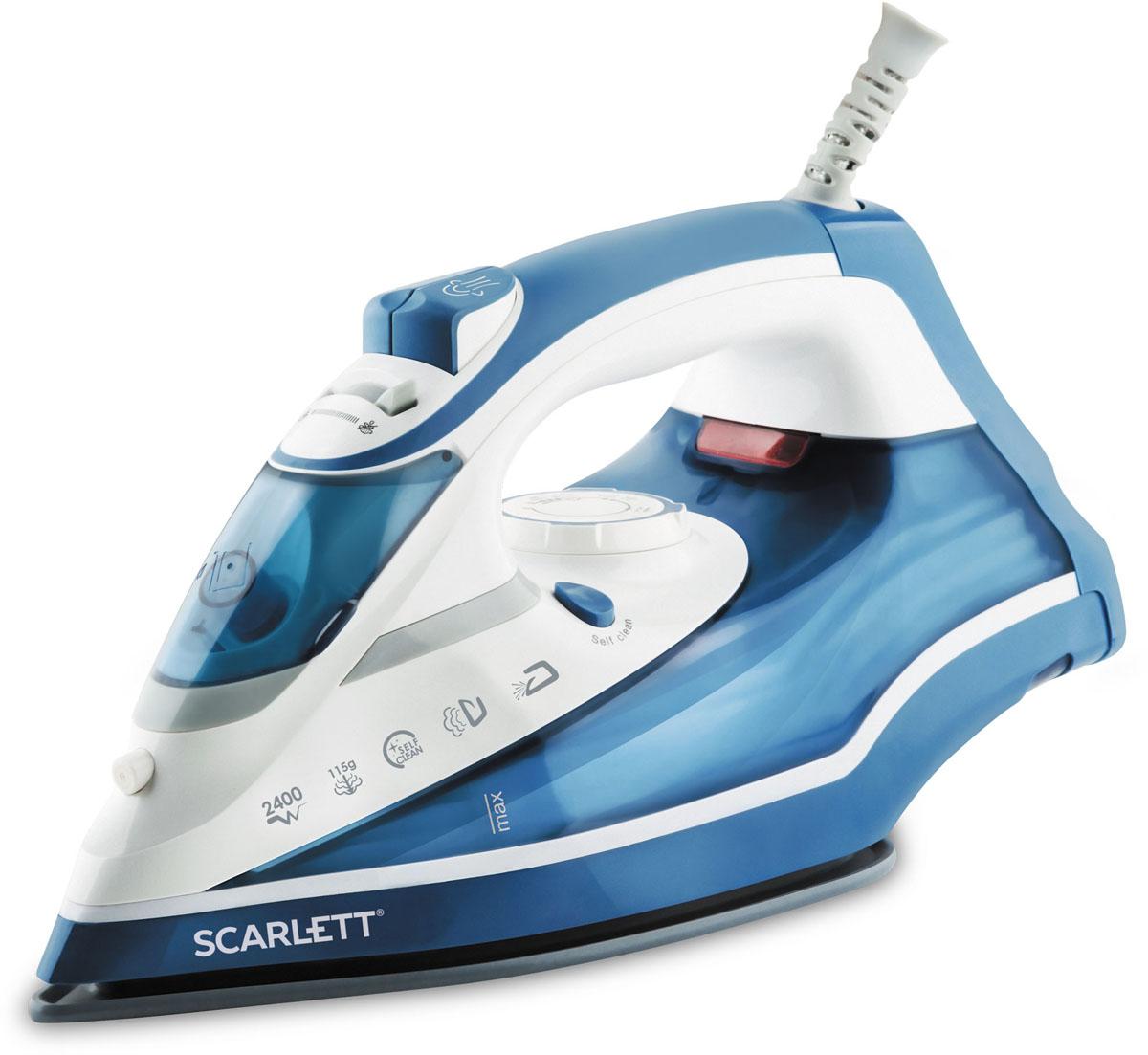 Scarlett SC-SI30K17, Blue утюгSC-SI30K17Утюг Scarlett SC-SI30K17 снабжён очень мощным нагревательным элементом, который достигает рабочей температуры уже через 30 секунд после включения. Он легко справляется с глажкой любых тканей за счёт применения функций разбрызгивания воды, вертикального отпаривания и парового удара.Высокопрочный материал, использующийся при изготовлении основания прибора, всегда сохраняет гладкость и легко скользит по любым материалам. Он не допускает случайного пригорания или разрыва белья.Функция самоочистки предотвращает заполнение внутренних капилляров накипью, способное стать причиной поломки утюга.Эргономичная рукоятка помогает надёжно удерживать утюг в руках при активной глажке, а шарнирное крепление предотвращает спутывание провода.