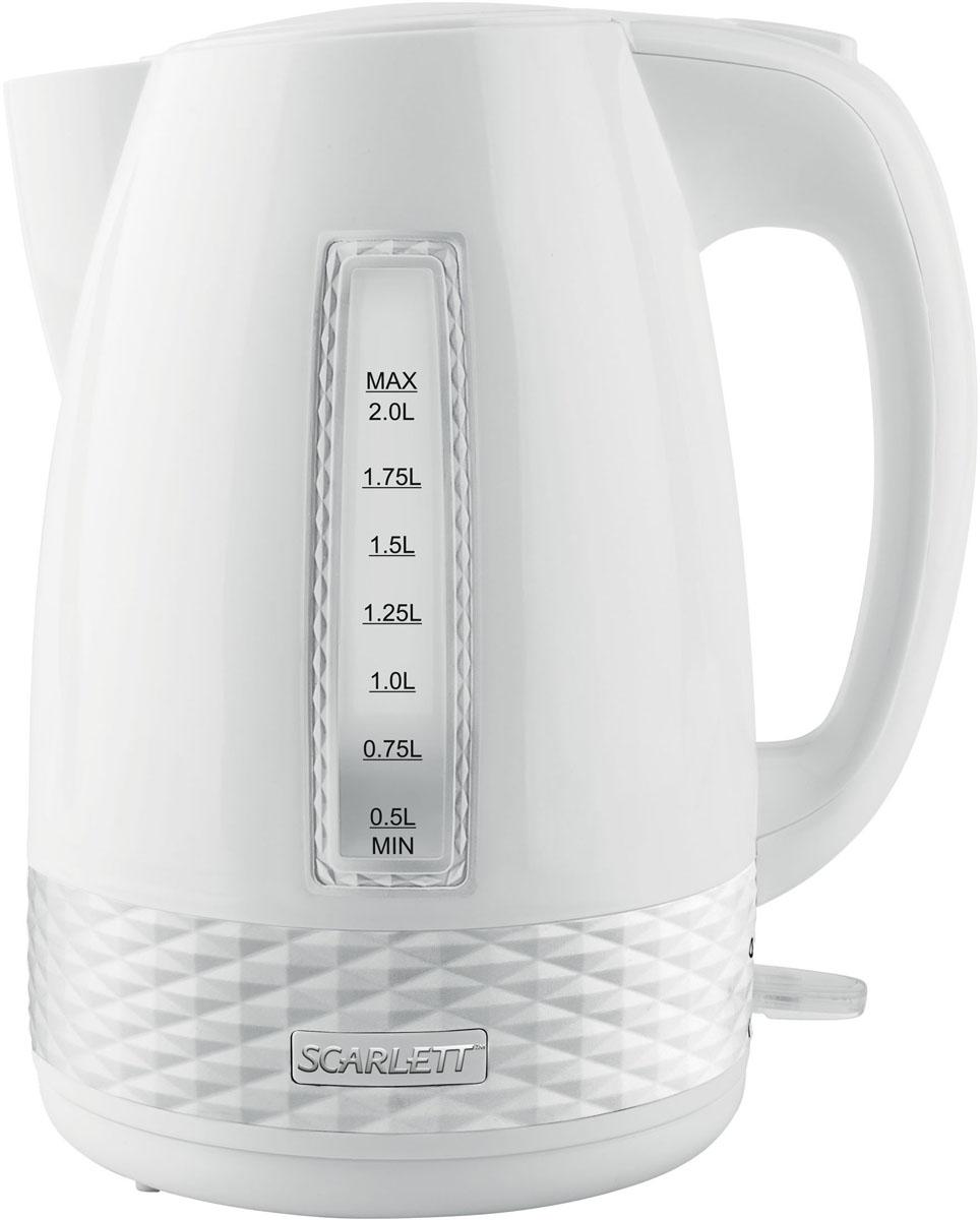 Scarlett SC-EK18P35, White электрический чайникSC-EK18P35Электрический чайник Scarlett SC-EK18P35 станет отличным дополнением к набору вашей мелкой бытовой техники для кухни. Среди явных преимуществ можно отметить безопасность использования и значительную экономию времени; вода в таких чайниках закипает за считанные минуты.Чайник выполнен из высокопрочного пластика и снабжен кнопкой для открывания крышки, скрытым нагревательным элементом и индикатором уровня воды. В приборе предусмотрена многоуровневая система защиты: чайник автоматически отключается при закипании и при недостаточном количестве воды в резервуаре. Набирать воду в чайник можно как через крышку, так и через носик.