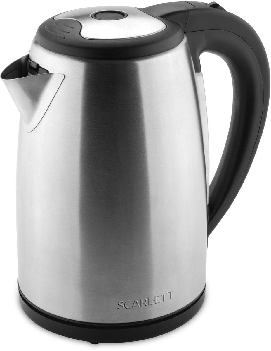 Scarlett SC-EK21S44, Stainless Steel электрический чайникSC-EK21S44Электрический чайник Scarlett SC-EK21S44 кипятит воду быстро, чтобы сэкономить ваше время.Удобная ненагревающаяся ручка дает возможность крепко удерживать наполненный чайник, сверху на ней расположена кнопка включения. Воду можно налить, подняв крышку за ручку, имеющуюся на ней, либо через носик, не открывая чайник. О том, что прибор включен, свидетельствует световая сигнализация на корпусе.Нагрев воды производит скрытая спираль, поэтому очистить чайник от накипи легко и удобно. Когда вода закипит, чайник автоматически отключается, индикация гаснет. Система безопасности прибора не допустит включения пустого чайника или с недостаточным количеством воды.Носик чайника оборудован съемным фильтром, исключающим попадание накипи в чашку, его можно промывать под проточной водой. На круглой нагревательной базе можно расположить чайник, как вам удобно, поворачивая на 360°, а сама подставка не нагревается и предохраняет стол от повреждения.