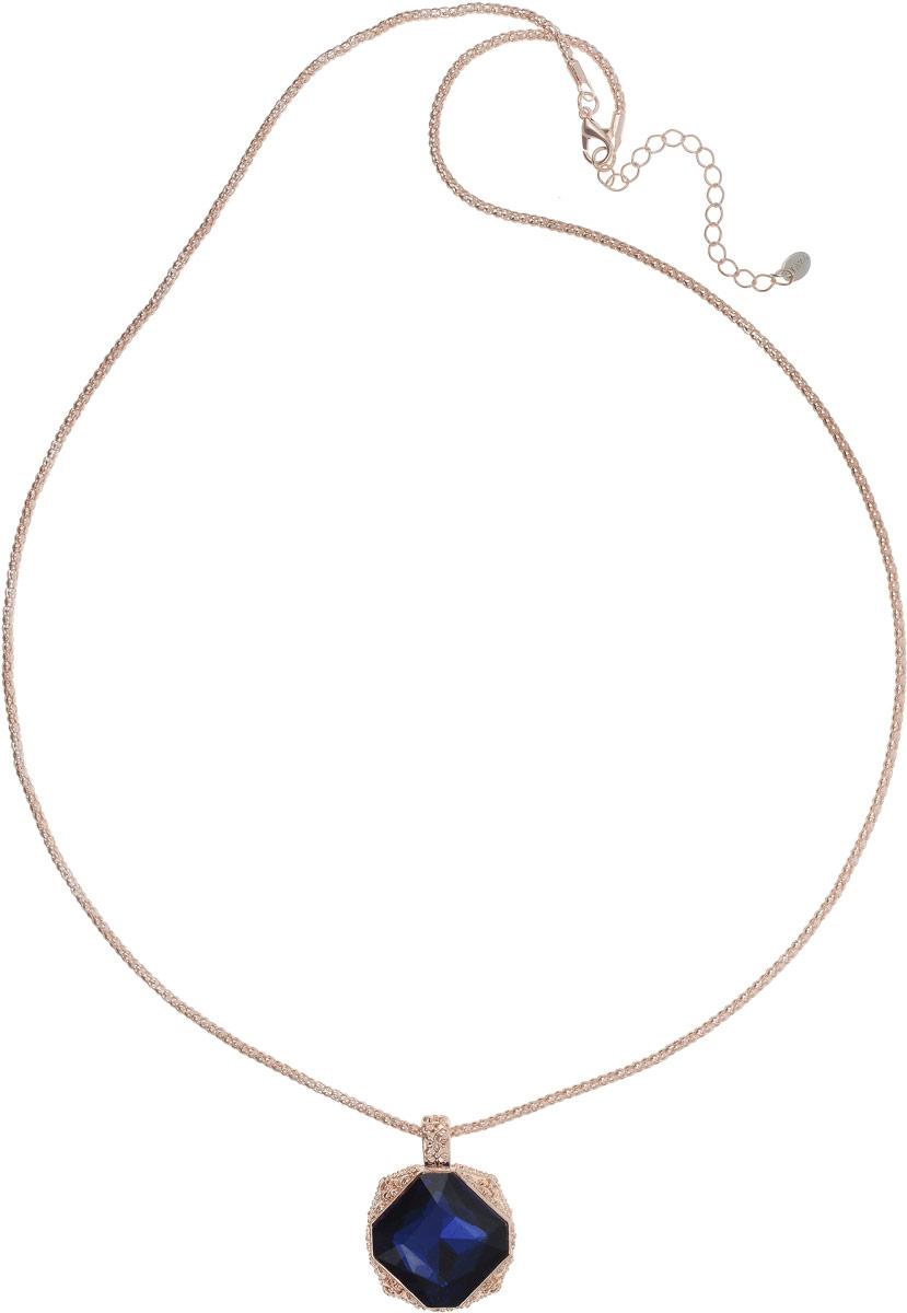 Колье Taya, цвет: золотистый, темно-синий. T-B-12685Колье (короткие одноярусные бусы)Лаконичный кулон на длинной цепи дополнен удлиняющей цепочкой с замочком-карабином. Сапфирового цвета кристалл расположен в объемной резной богатой рамке.