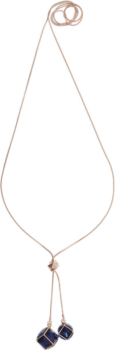 Колье Taya, цвет: золотистый, темно-синий. T-B-12682Колье (короткие одноярусные бусы)Стильное украшение-галстук. На концах цепей оформлены темно-синие кристаллы в золотой рамке. В центре расположен кубик для ограничения высоты цепи.