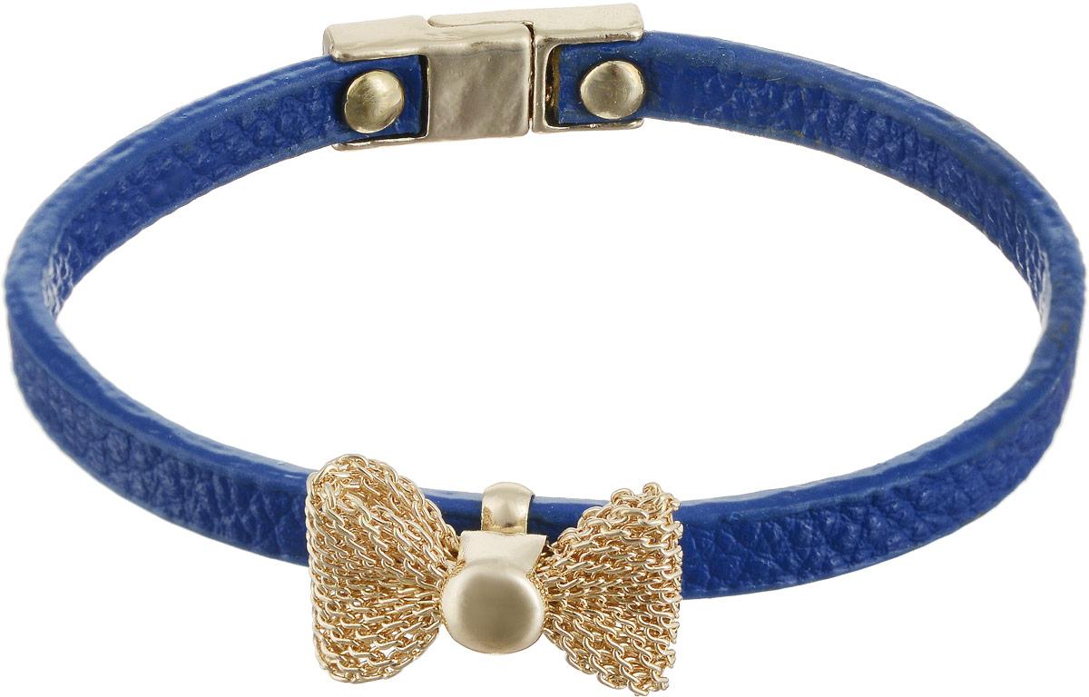 Браслет Taya, цвет: золотистый, синий. T-B-5392Глидерный браслетЯркий, но очень изящный кожаный браслет с нежным бантиком из золотой сеточки. Браслет застегивается на очень удобную магнитную застежку.