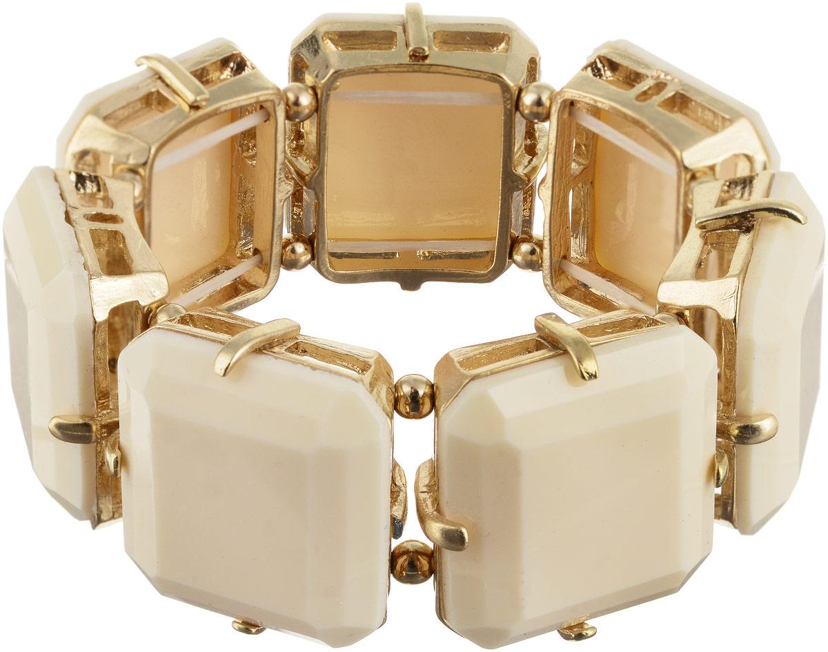 Браслет Taya, цвет: золотистый, бежевый. T-B-6274Браслет с подвескамиСтильный безразмерный браслет изготовлен из бижутерного сплава и крепится на эластичной резинке. Оформлена модель крупными бежевыми вставками.