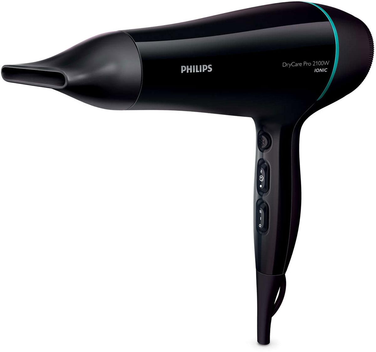 Philips BHD174/00 DryCare фенBHD174/00Профессиональный фен Philips DryCare оснащен АС-мотором, который обеспечивает скорость потока воздуха до 95 км/ч для быстрого, превосходного результата. Благодаря легкой конструкции фен гарантирует удобство и простоту использования.Система ионизации создает антистатический эффект при сушке волос. Отрицательно заряженные ионы позволяют снять статическое электричество и улучшить общее состояние волос, а также способствуют закрытию волосяных чешуек, что придает волосам дополнительный блеск. В результате волосы становятся гладкими, блестящими и шелковистыми.Легкая и компактная конструкция корпуса и эргономичная ручка профессионального фена Philips DryCare обеспечивают комфорт во время использования.Функция холодного обдува используется всеми профессиональными парикмахерами. Кнопка холодного обдува обеспечивает подачу мощного потока холодного воздуха для фиксации прически.Технология ThermoProtect обеспечивает оптимальную температуру сушки волос и их дополнительную защиту от перегрева. При постоянной мощности воздушного потока сушка будет более бережной, а результат — неизменно превосходным.Создайте свой неповторимый образ, установив или отрегулировав температуру и скорость воздушного потока с помощью соответствующих настроек. Выберите одну из трех температурных настроек и двух настроек скорости для максимального контроля и идеального результата.Насадка-концентратор с отверстием 7 мм обеспечивает направленный поток воздуха для фиксации отдельных прядей. Незаменимая насадка для идеальной укладки и эффективной сушки.