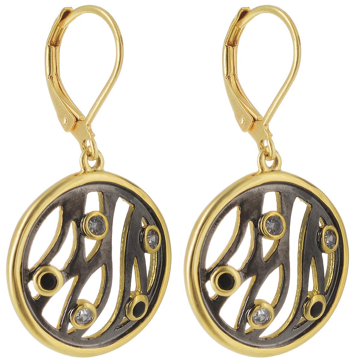 Серьги Taya, цвет: золотистый, черный. T-B-4981Серьги с подвескамиЭлегантные серьги с замком скобой. Оформлены сережки круглыми пластинами с вкраплениями из страз.