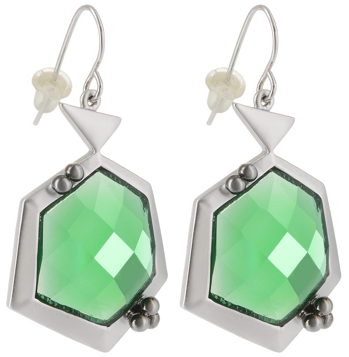 Серьги Taya, цвет: серебристый, зеленый. T-B-4978Серьги с подвескамиСерьги с петлевидным замком Taya, имеющим вид душки, дополнены сзади мягкой заглушкой. Оформлена модель сверкающим камнем в центре изделия. Элегантные серьги выполнены в очень стильной и утонченной форме.
