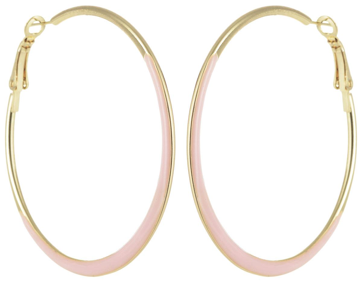 Серьги Taya, цвет: золотистый, розовый. T-B-5780Серьги-кольцаСерьги-кольца Taya с застежкой конго покрыты нежно-розовой эмалью. Вызывающее сочетание цветов порадует любительниц оригинальных изделий.