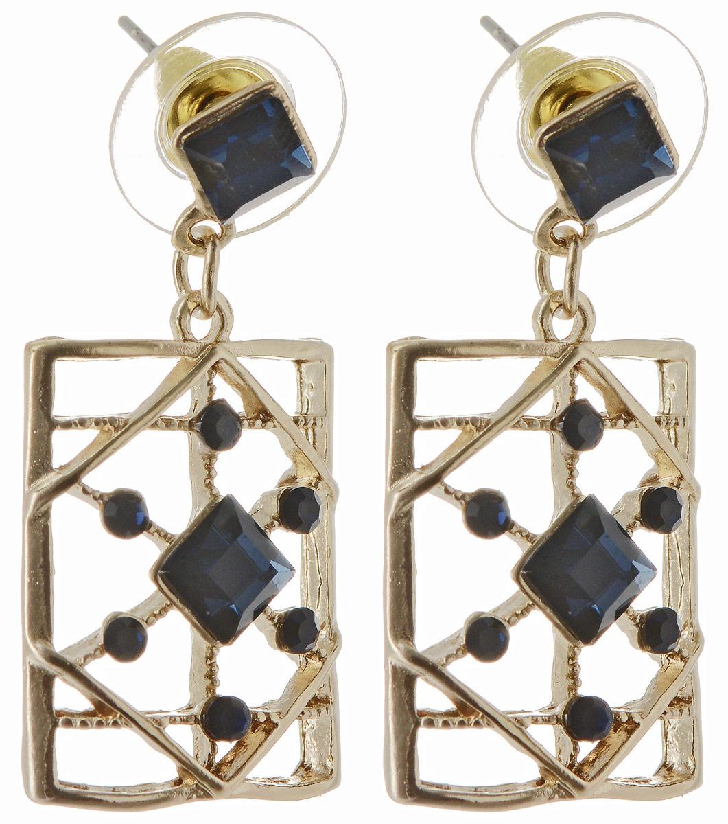 Серьги Taya, цвет: золотистый, темно-синий. T-B-12959Пуссеты (гвоздики)Серьги-гвоздики с темно-темно синими, почти черными, кристаллами, вплетенными в золотую решетку. Серьги выполнены под старину.