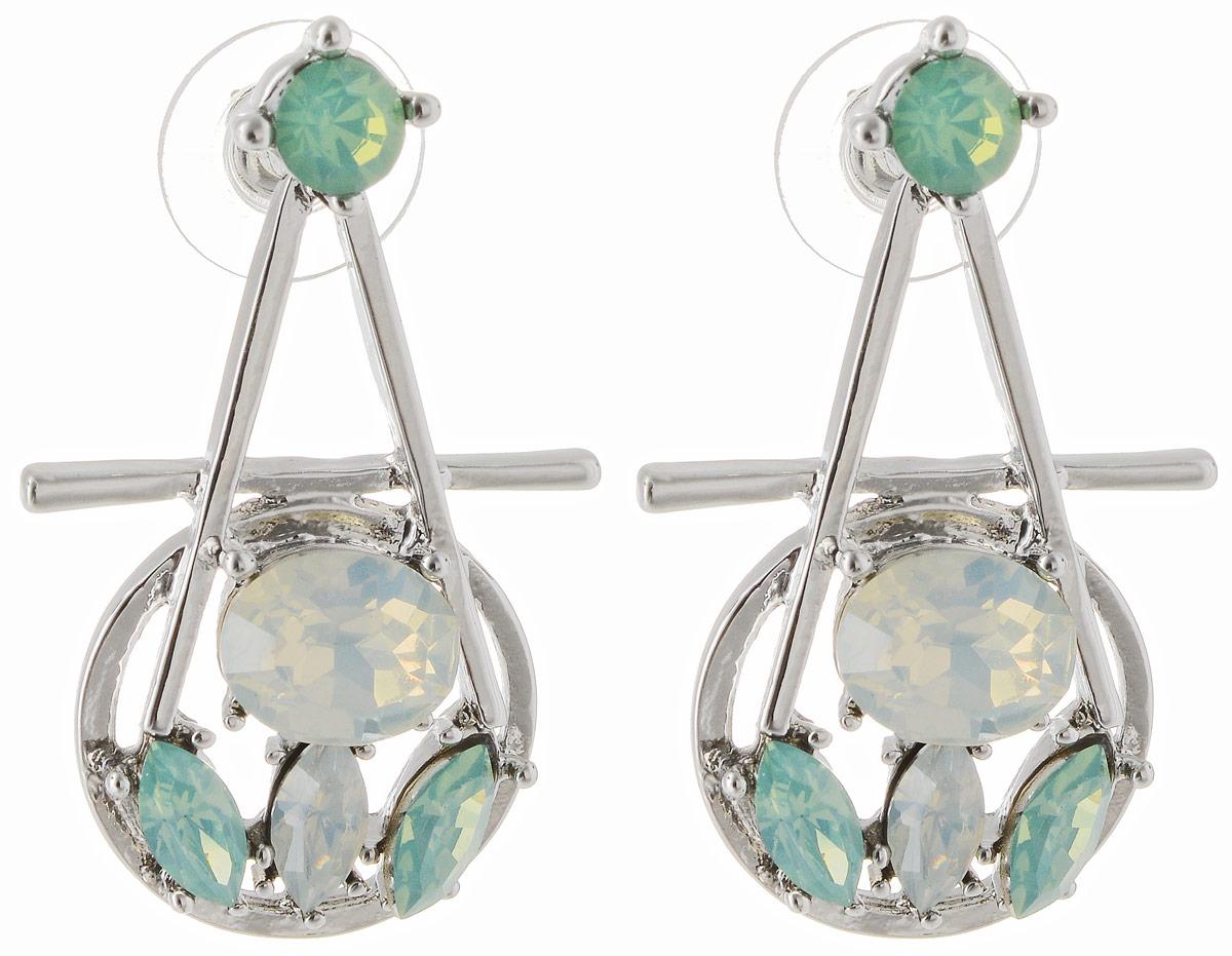 Серьги Taya, цвет: серебристый, светло-зеленый. T-B-12888Пуссеты (гвоздики)Серьги-гвоздики с заглушкой металл-пластик. Просто красивые, удобные и универсальные серьги оформлены перламутровыми кристаллами. Идеально подойдут ко всему чтобы вы не надели.