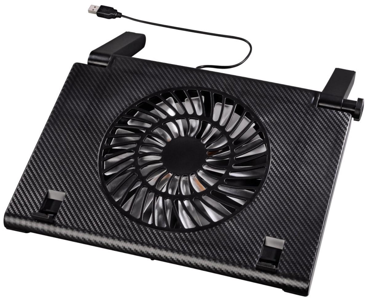 Hama H-54116 охлаждающая подставка для ноутбуков 15.6, Black54116Охлаждающая подставка Hama H-54116 предназначена для ноутбуков с диагональю экрана от 13,3 до 15,6 дюймов. Она имеет 10 позиций регулировки угла наклона, что позволяет комфортно работать с лэптопами. Подставка охлаждает ноутбук и обеспечивает оптимальную циркуляцию воздуха для предотвращения перегрева. Складные блокираторы надежно фиксируют устройство на подставке во время работы. Hama H-54116 оснащена малошумным вентилятором диметром 180 мм со светодиодной подсветкой голубого цвета. Прорезиненное основание обеспечивает хорошую устойчивость на различных поверхностях. Благодаря низкому энергопотреблению (270 мА) подставка экономно расходует заряд батареи ноутбука. Питание осуществляется через USB-разъем переносного компьютера.Уровень шума: 20 дБАСовместимые устройства: ноутбуки c диагональю экрана 34-40 см (13,3-15,6)