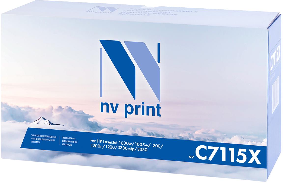 NV Print C7115X, Black тонер-картридж для HP LaserJet 1200/1220/3300/3380NV-C7115XСовместимый лазерный картридж NV Print C7115X для печатающих устройств HP - это альтернатива приобретению оригинальных расходных материалов. При этом качество печати остается высоким. Картридж обеспечивает повышенную чёткость чёрного текста и плавность переходов оттенков серого цвета и полутонов, позволяет отображать мельчайшие детали изображения.Лазерные принтеры, копировальные аппараты и МФУ являются более выгодными в печати, чем струйные устройства, так как лазерных картриджей хватает на значительно большее количество отпечатков, чем обычных. Для печати в данном случае используются не чернила, а тонер.