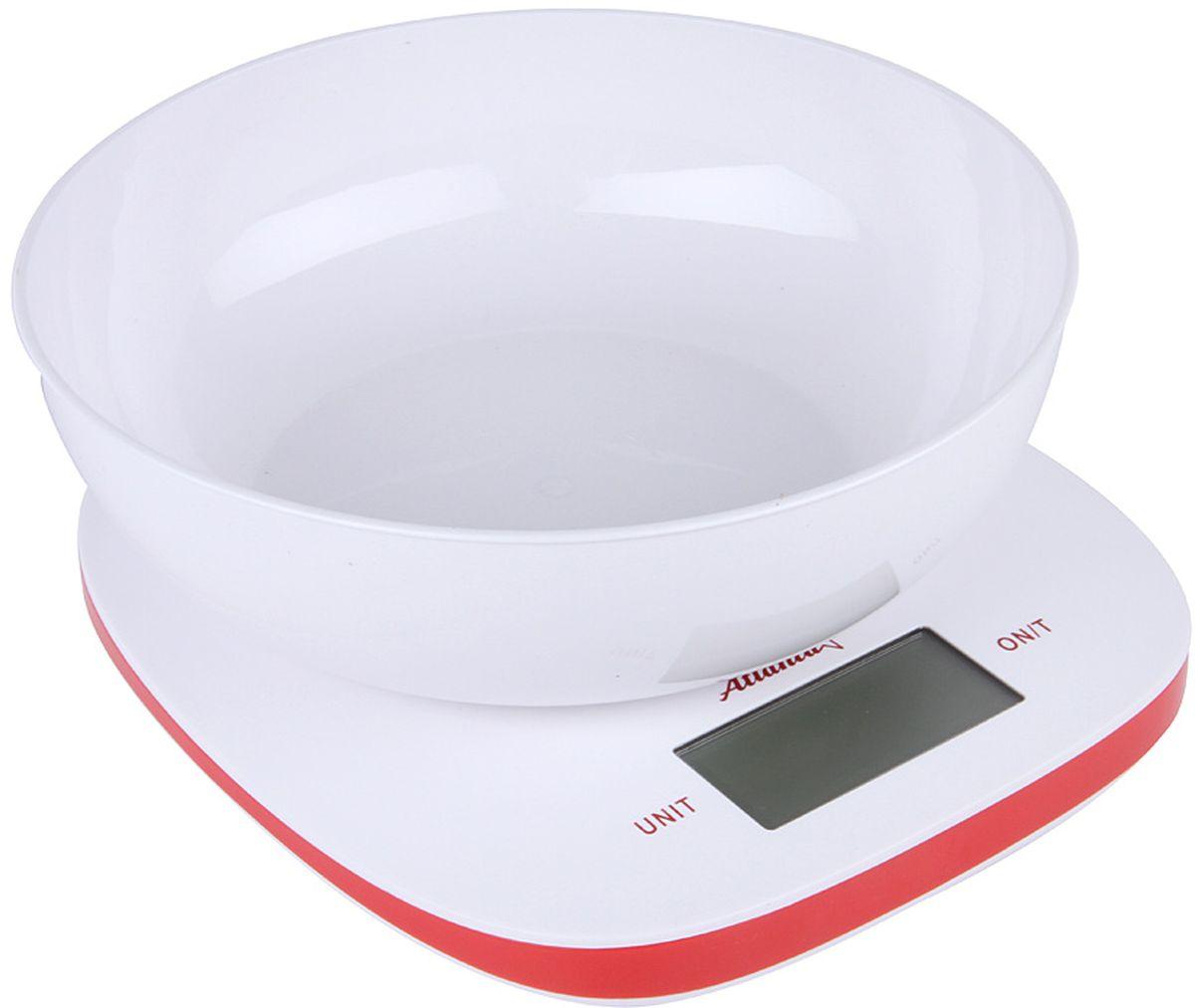 Atlanta ATH-6210, White Red весы кухонныеATH-6210 redКухонные электронные весы Atlanta ATH-6210 - незаменимые помощники современной хозяйки. Они помогут точно взвесить любые продукты и ингредиенты. Кроме того, позволят людям, соблюдающим диету, контролировать количество съедаемой пищи и размеры порций. Предназначены для взвешивания продуктов с точностью измерения 1 грамм.Размер дисплея: 5,83 см х 2,7 смФункция обнуления веса
