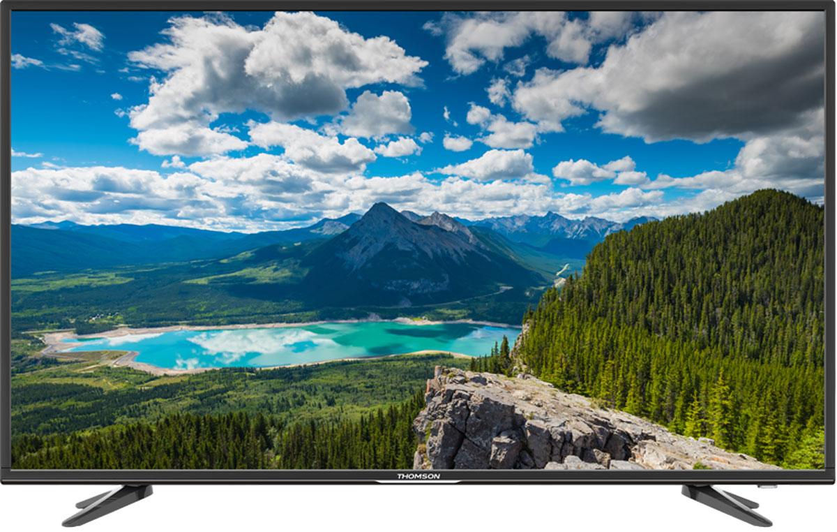 Thomson T49D16SF-02B телевизорT49D16SF-02BТелевизор Thomson T49D16SF-02B с диагональю 49 дюймов оборудован LED подсветкой и поддерживает разрешение Full HD (1920х1080). Оснащен системой динамиков 2.0, выдающих звук общей мощностью 16 Вт. Источником сигнала для качественной реалистичной картинки служат не только цифровые эфирные и кабельные каналы, но и любые записи с внешних носителей, благодаря универсальному встроенному USB медиаплееру. 3 HDMI-порта позволяют подключать современные устройства.Thomson T49D16SF-02B обладает рядом функций, позволяющих добиться наилучшего качества картинки и звука. В их числе шумоподавление. Кроме того, телевизор оснащен удобной функцией TimeShift, благодаря которой при условии подключения к ТВ USB-накопителя, телевизионные трансляции можно ставить на паузу.