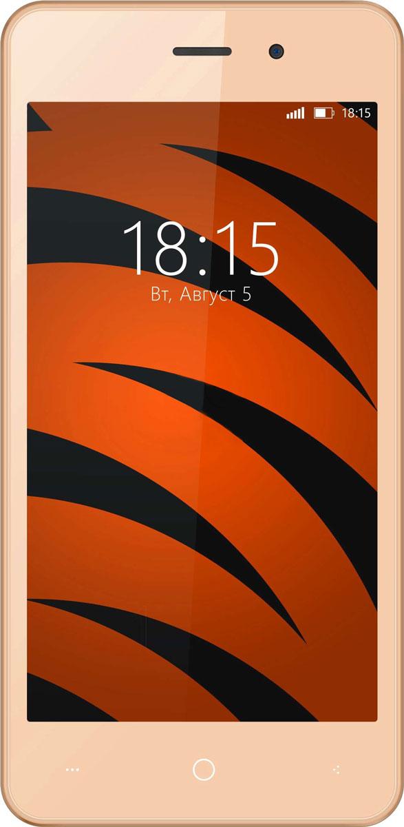 BQ 4526 Fox, Champagne Gold46613549BQ 4526 Fox предлагает пользователю эффективно функционирующую операционную систему и быструю работу всех современных программ в паре с мощностью четырехъядерного процессора, а так же технологии Dual SIM для легкого разделения рабочего и личного пространства.BQ 4526 Fox станет хорошим устройством для людей, которые ищут оптимальный баланс между простотой использования и быстродействием ОС. Смартфон оснащен четырехъядерным процессором с тактовой частотой 1,2 Ггц, что позволяет ему выполнять поступающие запросы легко и стремительно. Благодаря 1 ГБ оперативной и 8 ГБ встроенной памяти вы сможете играть в любимые игры, в полной мере задействовать многозадачность устройства и наслаждаться медиа-контентом на 4,5-дюймовом дисплее. В BQ 4526 Fox установлены две камеры с разрешением 2 и 5-мегапикселей. Оптика поможет сфотографировать необходимые документы или осуществить видеозвонок. Смартфон сертифицирован EAC и имеет русифицированный интерфейс меню и Руководство пользователя.