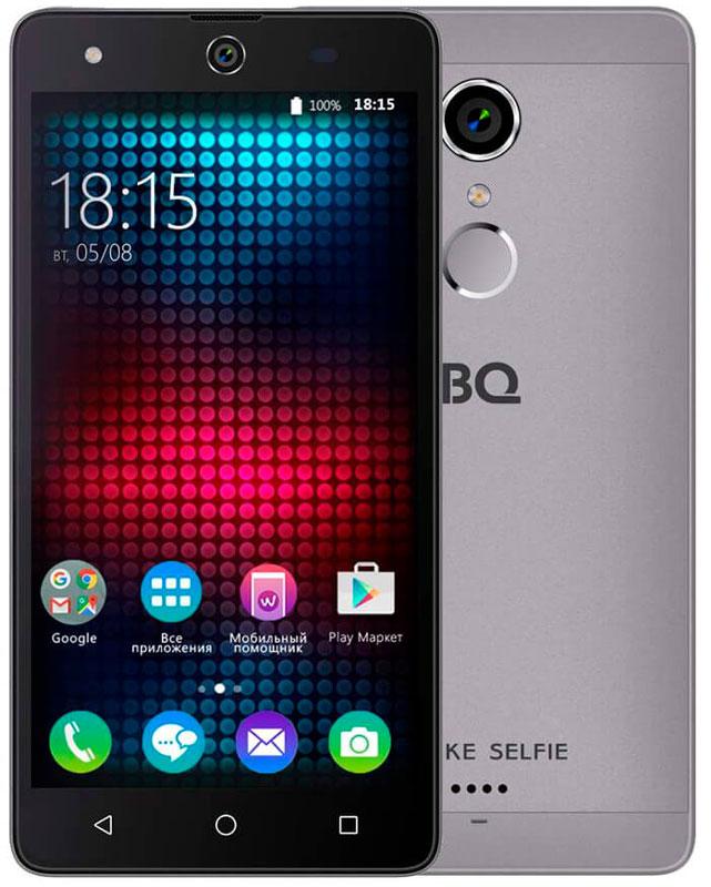 BQ 5050 Strike Selfie, Gray46611277Главная особенность BQ 5050 Strike Selfie - 13-мегапиксельная фронтальная камера со вспышкой и автофокусом, предназначенная для создания умопомрачительного качества селфи-фотографий, что, несомненно, порадует всех любителей селфи.Кроме этого смартфон работает на базе современной операционной системы Android 6.0. Благодаря работе этой версии ОС смартфон BQS-5050Strike Selfie справляется с мультизадачными приложениями намного быстрее своих конкурентов. Устройство оснащено современным четырехъядерным процессором MediaTek MT6580. Он без труда справится с самыми сложными задачами, легко откроет тяжелые игры и ресурсоёмкие приложения. Общение в социальных сетях и мессенджерах, серфинг любимых развлекательных сайтов с BS 5050 Strike Selfie будет только в радость. Оперативная память составляет 1 ГБ, встроенная память для хранения любимых фильмов, формата HD, игр, книг и фотографий - 8 ГБ. Кроме этого память устройства можно расширить до 64 ГБ с помощью карты памяти формата microSD, поэтому у вас не будет проблем с хранением нужного контента.Стильный алюминиевый корпус смартфона является прекрасным дизайнерским решением, которое придаст индивидуальности владельцу BQ 5050Strike Selfie.Смартфон сертифицирован EAC и имеет русифицированный интерфейс меню и Руководство пользователя