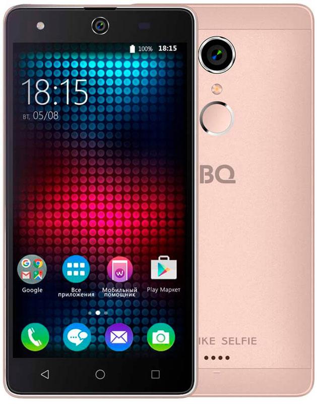 BQ 5050 Strike Selfie, Rose Gold46611278Главная особенность BQ 5050 Strike Selfie - 13-мегапиксельная фронтальная камера со вспышкой и автофокусом, предназначенная для создания умопомрачительного качества селфи-фотографий, что, несомненно, порадует всех любителей селфи.Кроме этого смартфон работает на базе современной операционной системы Android 6.0. Благодаря работе этой версии ОС смартфон BQS-5050Strike Selfie справляется с мультизадачными приложениями намного быстрее своих конкурентов. Устройство оснащено современным четырехъядерным процессором MediaTek MT6580. Он без труда справится с самыми сложными задачами, легко откроет тяжелые игры и ресурсоёмкие приложения. Общение в социальных сетях и мессенджерах, серфинг любимых развлекательных сайтов с BS 5050 Strike Selfie будет только в радость. Оперативная память составляет 1 ГБ, встроенная память для хранения любимых фильмов, формата HD, игр, книг и фотографий - 8 ГБ. Кроме этого память устройства можно расширить до 64 ГБ с помощью карты памяти формата microSD, поэтому у вас не будет проблем с хранением нужного контента.Стильный алюминиевый корпус смартфона является прекрасным дизайнерским решением, которое придаст индивидуальности владельцу BQ 5050Strike Selfie.Смартфон сертифицирован EAC и имеет русифицированный интерфейс меню и Руководство пользователя