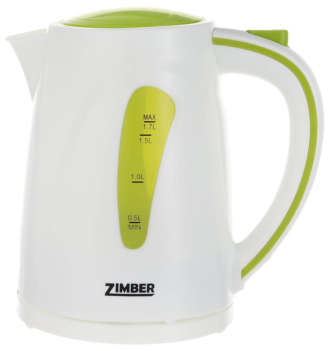 Zimber ZM-10838 электрический чайникZM-10838Электрический чайник Zimber ZM-10838 является прекрасным решением для тех, кто любит устраивать себе перерывы в работе на чашечку чая или кофе. Он прост в управлении и долговечен в использовании. Чайник автоматически выключается при закипании.