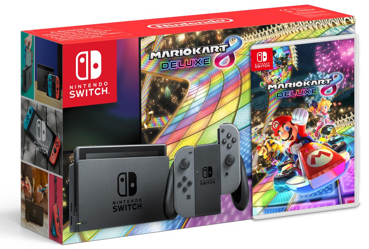 Nintendo Switch, Grey игровая приставка + Mario Kart 8 DeluxeConSWT4Nintendo Switch – инновационная игровая консоль-гибрид. Ее не только можно подключить к телевизору, она также мгновенно превращается в портативную игровую систему с экраном 6,2 дюйма. Впервые игроки смогут наслаждаться масштабными игровыми проектами, типичными для домашних консолей, где угодно и когда угодно. Игровая консоль поддерживает amiibo и многопользовательскую локальную/онлайн игру на 8 человек.Mario Kart 8 Deluxe – самые масштабные гонки, в которые можно играть где угодно, когда угодно и с кем угодно. Устраивайте соревнования с семьей на большом экране в гостиной, играйте в парке или же возьмите консоль к другу. Вам доступны рекордные 48 гоночных трасс, новые гонщики и новые предметы, а также переработанный режим «бой». Перед вами – самая масштабная игра серии Mario Kart в истории!Комплект поставки включает саму консоль, правый и левый контроллеры Joy-Con серого цвета, игру Mario Kart 8 Deluxe на игровой карте, держатель Joy-Con (к которому присоединяются оба Joy-Con для использования в качестве единого контроллера), набор ремешков Joy-Con, док-станцию Nintendo Switch, кабель HDMI и блок питания.ОБРАТИТЕ ВНИМАНИЕ: данный комплект включает в себя консоль Nintendo Switch и игру Mario Kart 8 Deluxe, обернутых между собой картонным рукавом С НОВЫМ ШТРИХ-КОДОМ (UPC). Весь комплект запакован в плёнку, и товары из набора НЕ МОГУТ продаваться отдельно.