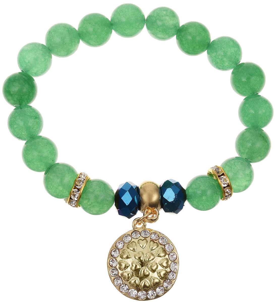 Браслет Bradex Зеленый кварц, цвет: зеленый. AS 0094Браслет с подвескамиПростой и очень элегантный браслет Зеленый кварц станет изящной финальной нотой, которая дополнит ваш юный и свежий образ.Ряд ровных бусин травяного цвета идеально круглой формы делает стиль украшения сдержанным и элегантным. Аккуратные вставки с золотым покрытием и красочный радужный декор в центре привлекают внимание и дарят праздничное настроение.Сияющая золотым блеском подвеска с кристаллами придает образу чистоту и женственность.