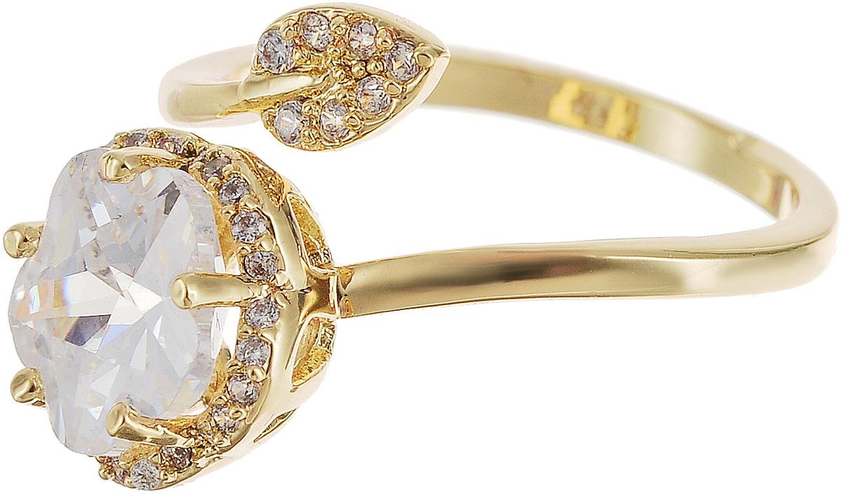 Кольцо Bradex Цветок, цвет: золотой. AS 0104Коктейльное кольцоОригинальное кольцо Цветок поможет вам постоянно помнить о собственной женской уникальности.Эффектное спиралевидное кольцо, плавно изгибаясь, обвивает палец, что делает украшение подходящим для фаланги любого размера.Нежный и хрупкий цветок из крупного циркона, обрамленный крошечными кристаллами по краям, притягивает к себе не только лучи света, но и взгляды окружающих.Кокетливый листок с семью миниатюрными циркониевыми вставками навевает позитивное настроение.