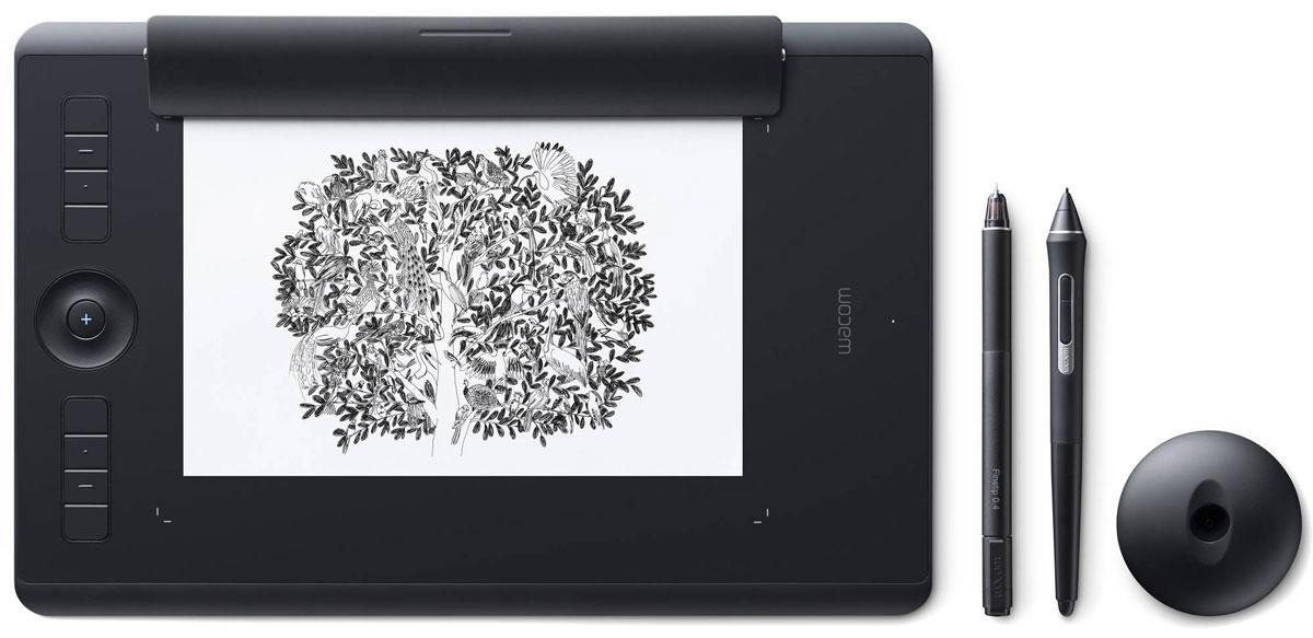 Wacom Intuos Pro Medium Paper графический планшет (PTH-660P-R)4949268620604Wacom Intuos Pro Medium Paper - это сочетание современных технологий и рисования на выбранной вами бумаге. Это новый, но и такой знакомый способ работы. Пока вы будете наслаждаться рисованием ручкой Finetip Pen по бумаге, планшет Wacom Intuos Pro Medium Paper запомнит каждый ваш штрих, чтобы в дальнейшем вы могли его доработать в любимой программе. Или сразу подключите Wacom Intuos Pro Medium Paper к компьютеру и работайте новейшим цифровым пером Wacom Pro Pen 2 в графическом приложении.Корпус Wacom Intuos Pro Medium Paper сделан из высококачественных первоклассных материалов: черного анодированного алюминия и стекловолокнистого композитного пластика. Несмотря на толщину всего 8 мм, планшет на ощупь надежный и прочный.В комплект Wacom Intuos Pro Medium Paper включена подставка для пера со стальным основанием, предназначенная для хранения запасных наконечников. А еще в нее встроен удобный инструмент для замены наконечников.Настраиваемые клавиши ExpressKeys и сенсорное кольцо Touch Ring обеспечивают быстрый доступ к повседневным задачам. Жесты multi-touch делают навигацию по рабочим материалам очень простой - как на смартфоне.8192 уровней давления пераВстроенный модуль Bluetooth